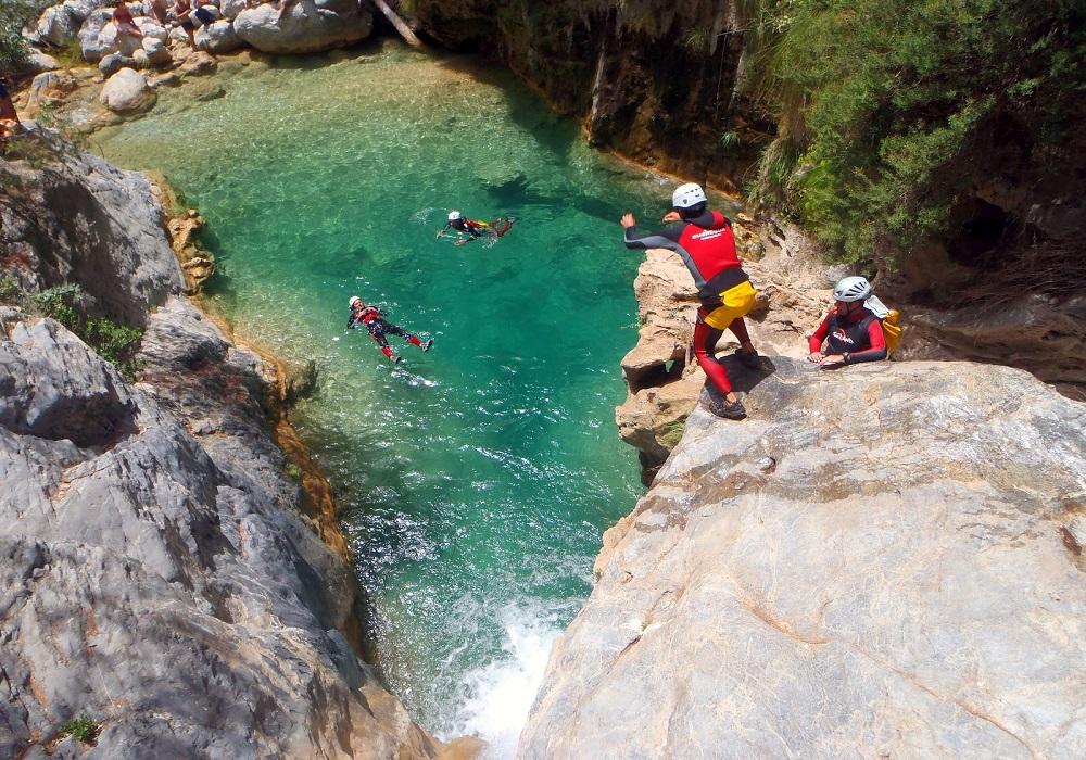 Canyoning Sierra de Grazalema, Andalusien.